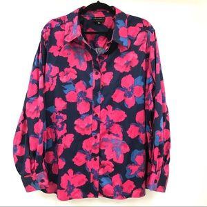 💗Foxcroft cotton blend floral l/ blouse. Sz…
